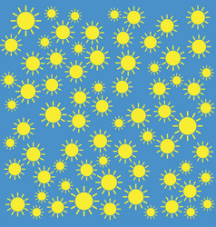 yellow sun pattern on blue background vector image