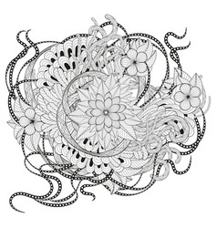 Zen tangle floral pattern vector