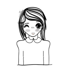 anime cute beautiful woman vector image