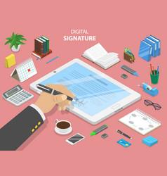digital signature flat isometric concept vector image vector image