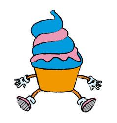 mascot of an ice cream in cone frozen sweet vector image