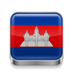 Metal icon of cambodia vector