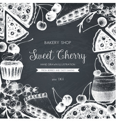 vintage template with traditional cherry cakes vector image