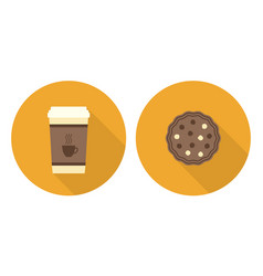 flat set cup of coffee and cookie vector image vector image