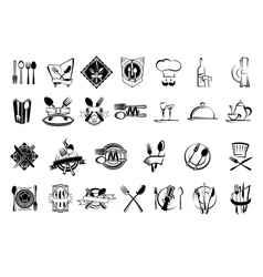 Food restaurant and silverware icons set vector image