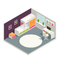 kids room isometric composition vector image vector image