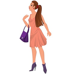 Cartoon young woman in pink dress and purple bag vector image vector image