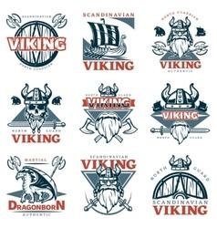 Colored viking emblem set vector