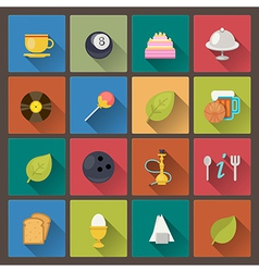 food and entertainment icons in flat design style vector image vector image
