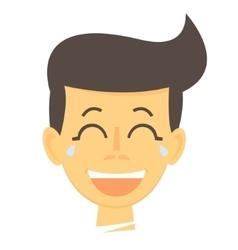 Laughing cartoon boy Happy boy face icon vector image vector image