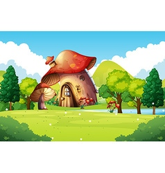 Mushroom house in the field vector image