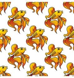 Seamless pattern of ornamental goldfish vector image