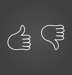 Thumb up icons draw effect vector image vector image