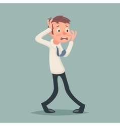 Vintage Businessman Suffer Emotion Fear Horror vector image