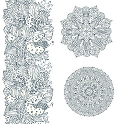 collection seamless border of doodle pattern vector image
