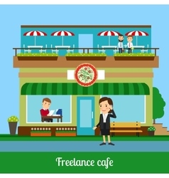 Freelance cafe with working people vector image