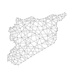 map of syria from polygonal black lines and dots vector image vector image