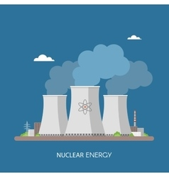 Nuclear power plant and factory Energy industrial vector image