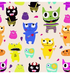 Seamless pattern of funny monsters - vector image