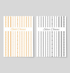 silver and gold chains promotional posters set vector image