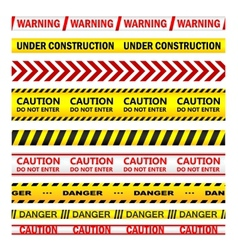 Yellow warning tapes with texts vector image