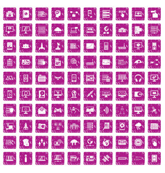 100 database and cloud icons set grunge pink vector image