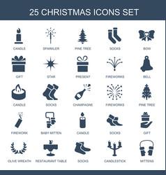 25 christmas icons vector