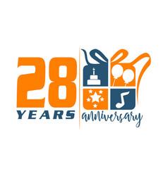 28 year gift box ribbon anniversa vector image