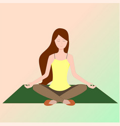 A girl sitting in lotus position and meditate vector
