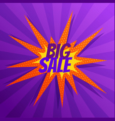 abstract big sale banner in comic style vector image