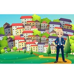 An old businessman standing at hilltop across vector