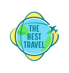 Best travel icon with airplane flying over vector