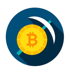 Bitcoin mining circle icon vector