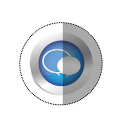 blue symbol round chat bubbles icon vector image