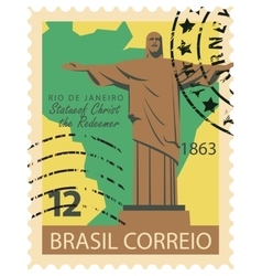 Brazilian stamp with Statue of Christ vector