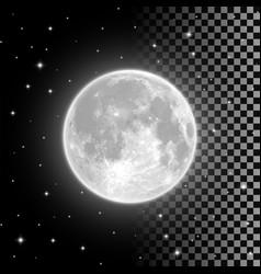 Bright full moon in clear night sky vector