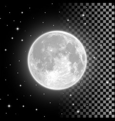 Bright full moon in the clear night sky vector