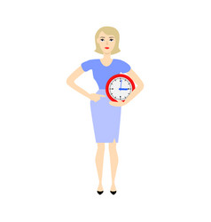 business woman time clock deadline concept vector image