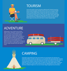 Camping banner tourist bus with canoe tipi tent vector