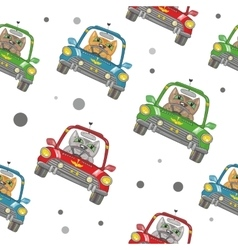 Cartoon cat on the car pattern vector