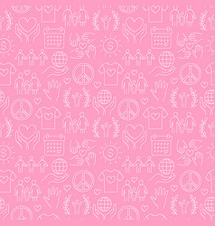charity seamless pattern with flat line vector image