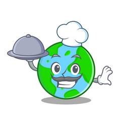 Chef with food world globe character cartoon vector