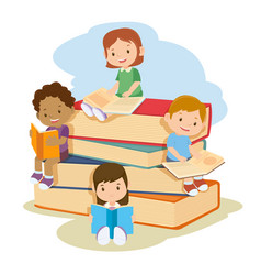 children learning and reading books together vector image