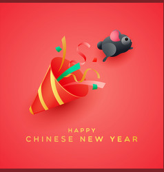 chinese new year 2020 funny cute rat party cartoon vector image