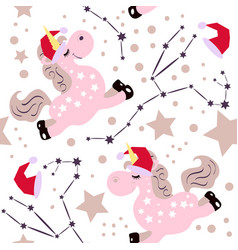 chrismas pink unicorn pattern vector image