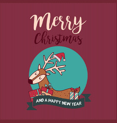 Christmas and new year cute holiday gift deer vector
