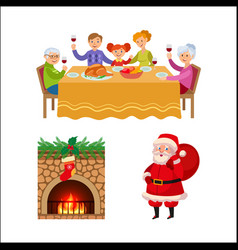 Christmas family dinner chimney and santa claus vector