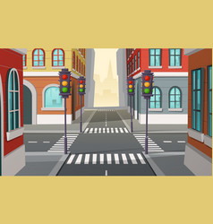 city crossroads with traffic lights vector image