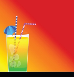 cocktail and red background vector image