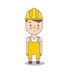 Construction worker handy man in yellow helmet vector